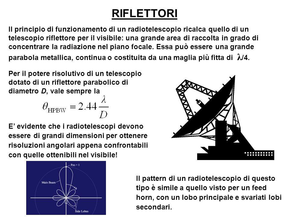Il principio di funzionamento di un radiotelescopio ricalca quello di un telescopio riflettore per il visibile: una grande area di raccolta in grado d
