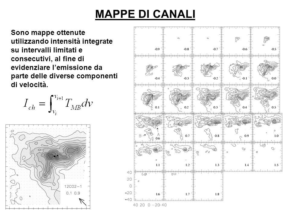 MAPPE DI CANALI Sono mappe ottenute utilizzando intensità integrate su intervalli limitati e consecutivi, al fine di evidenziare lemissione da parte d