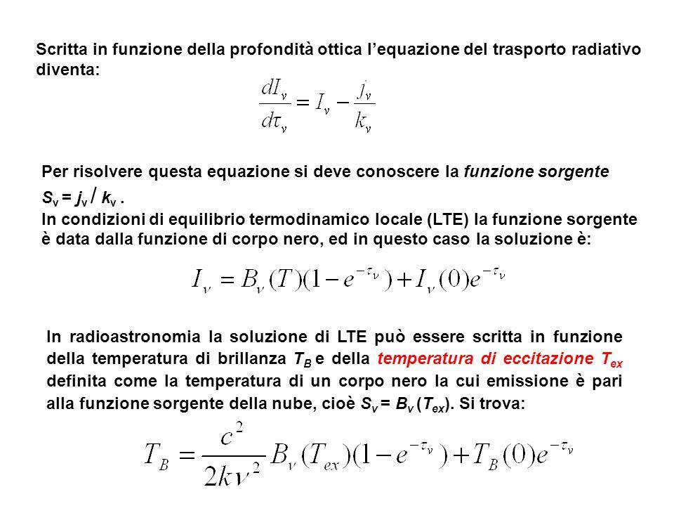 Per risolvere questa equazione si deve conoscere la funzione sorgente S ν = j ν / k ν. In condizioni di equilibrio termodinamico locale (LTE) la funzi