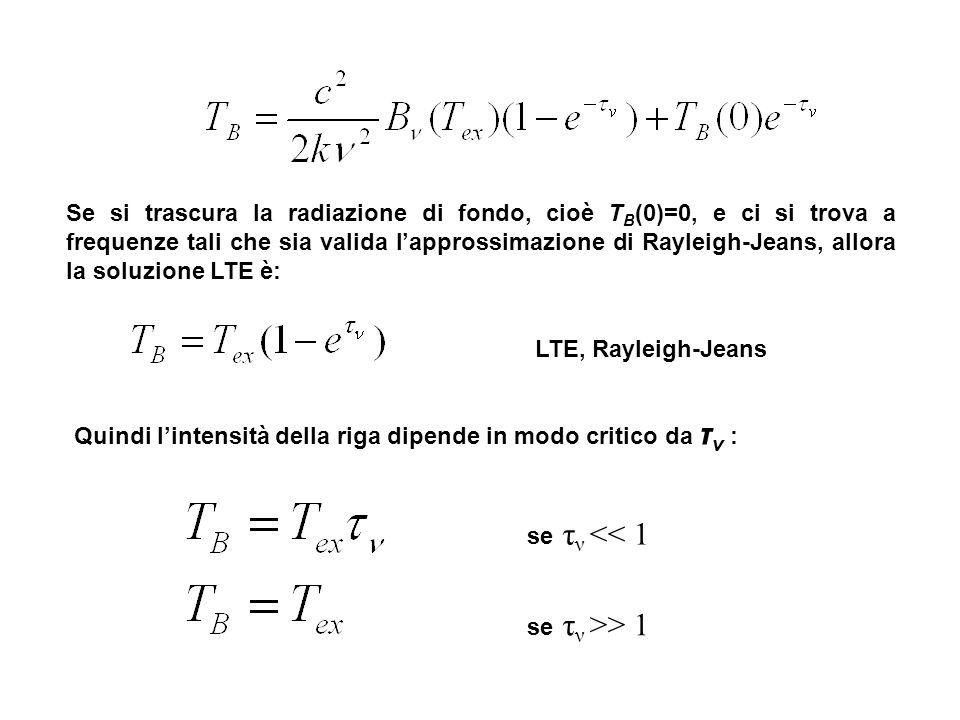 Se si trascura la radiazione di fondo, cioè T B (0)=0, e ci si trova a frequenze tali che sia valida lapprossimazione di Rayleigh-Jeans, allora la sol
