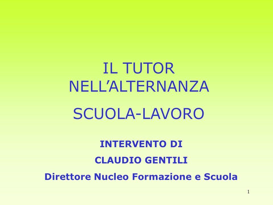 1 IL TUTOR NELLALTERNANZA SCUOLA-LAVORO INTERVENTO DI CLAUDIO GENTILI Direttore Nucleo Formazione e Scuola