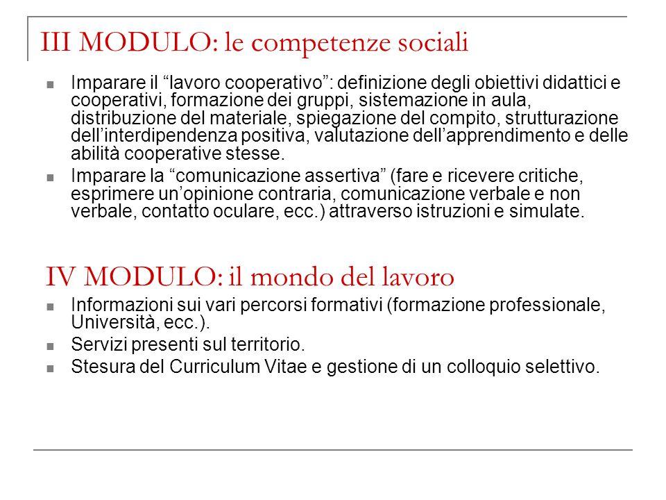 III MODULO: le competenze sociali Imparare il lavoro cooperativo: definizione degli obiettivi didattici e cooperativi, formazione dei gruppi, sistemaz