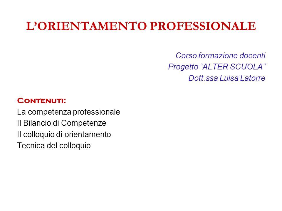 LORIENTAMENTO PROFESSIONALE Corso formazione docenti Progetto ALTER SCUOLA Dott.ssa Luisa Latorre Contenuti: La competenza professionale Il Bilancio d
