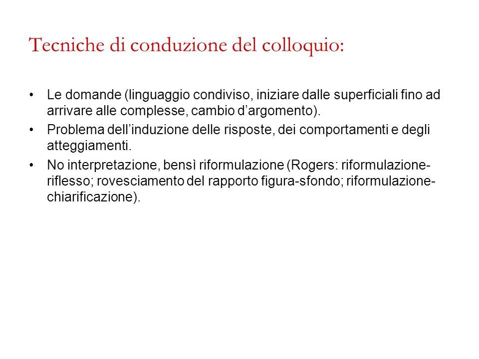 Tecniche di conduzione del colloquio: Le domande (linguaggio condiviso, iniziare dalle superficiali fino ad arrivare alle complesse, cambio dargomento