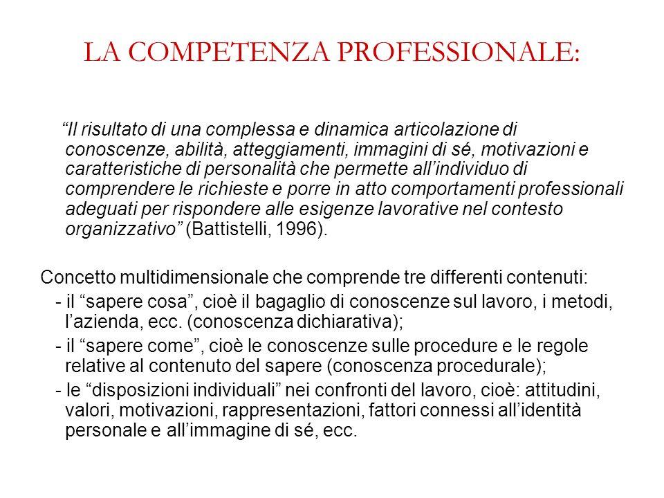 LA COMPETENZA PROFESSIONALE: Il risultato di una complessa e dinamica articolazione di conoscenze, abilità, atteggiamenti, immagini di sé, motivazioni