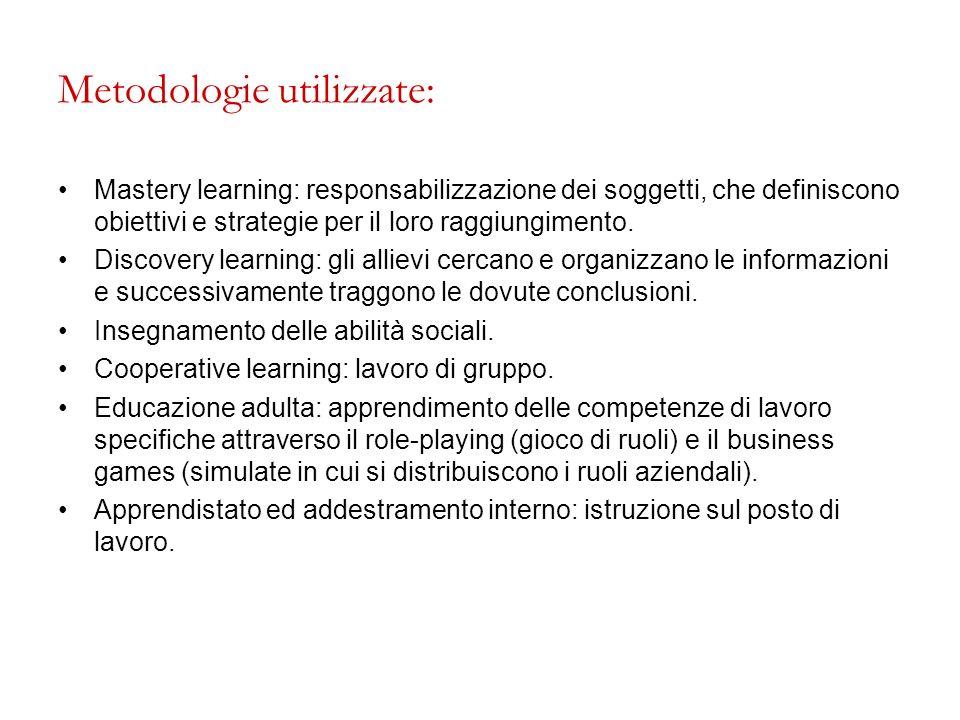 Metodologie utilizzate: Mastery learning: responsabilizzazione dei soggetti, che definiscono obiettivi e strategie per il loro raggiungimento. Discove