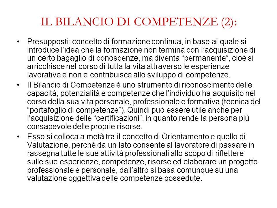 IL BILANCIO DI COMPETENZE (2): Presupposti: concetto di formazione continua, in base al quale si introduce lidea che la formazione non termina con lac