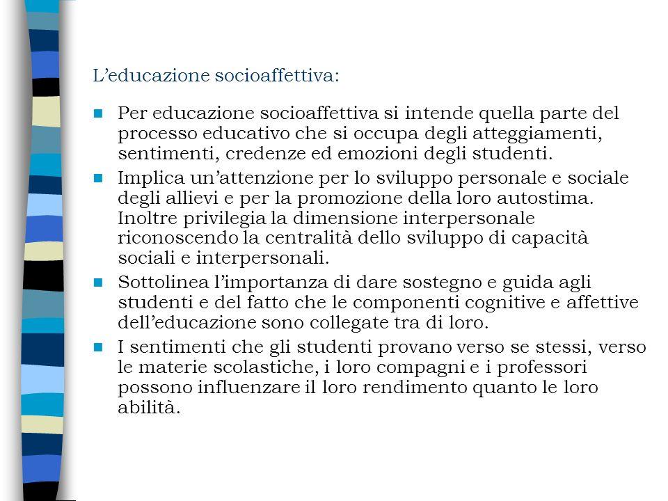 Leducazione socioaffettiva: Per educazione socioaffettiva si intende quella parte del processo educativo che si occupa degli atteggiamenti, sentimenti