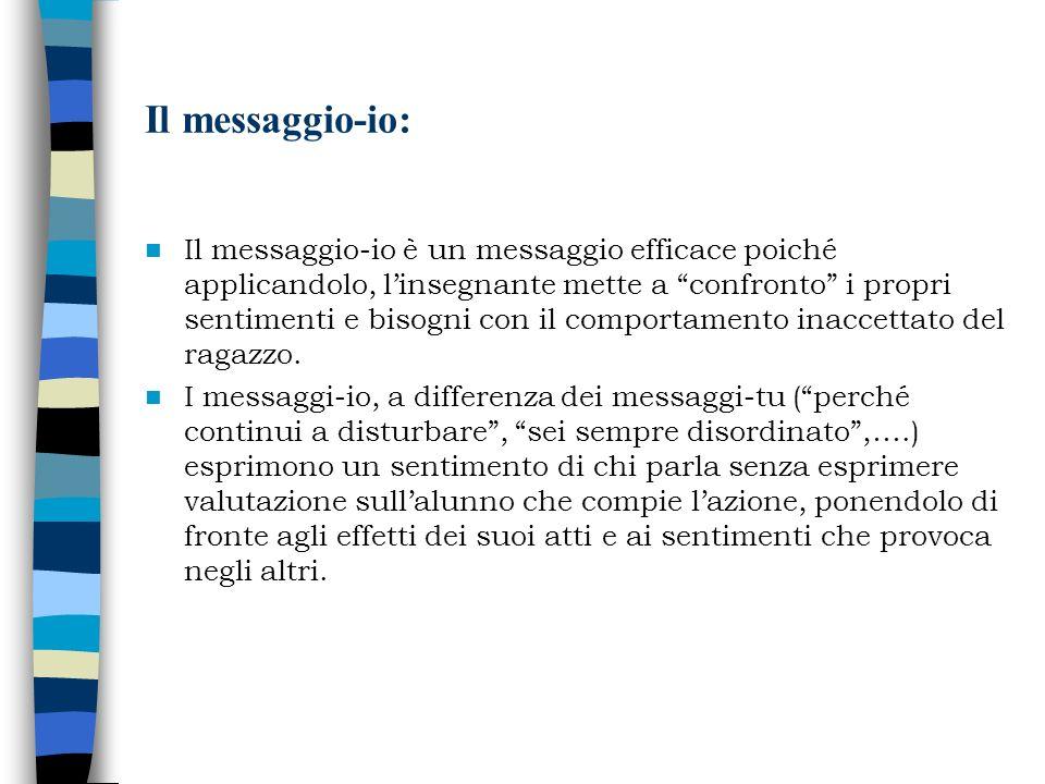 Il messaggio-io: Il messaggio-io è un messaggio efficace poiché applicandolo, linsegnante mette a confronto i propri sentimenti e bisogni con il compo