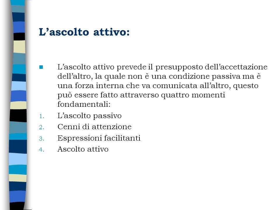 Lascolto attivo: Lascolto attivo prevede il presupposto dellaccettazione dellaltro, la quale non è una condizione passiva ma è una forza interna che v