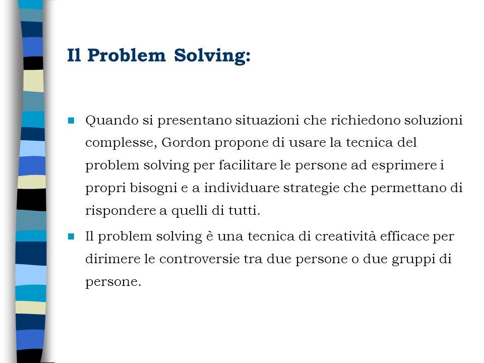 Il Problem Solving: Quando si presentano situazioni che richiedono soluzioni complesse, Gordon propone di usare la tecnica del problem solving per fac