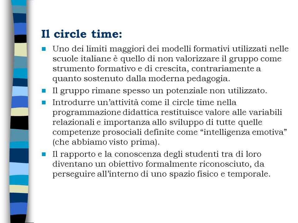 Il circle time: Uno dei limiti maggiori dei modelli formativi utilizzati nelle scuole italiane è quello di non valorizzare il gruppo come strumento fo