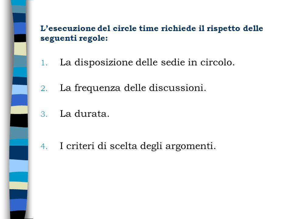 Lesecuzione del circle time richiede il rispetto delle seguenti regole: 1. La disposizione delle sedie in circolo. 2. La frequenza delle discussioni.