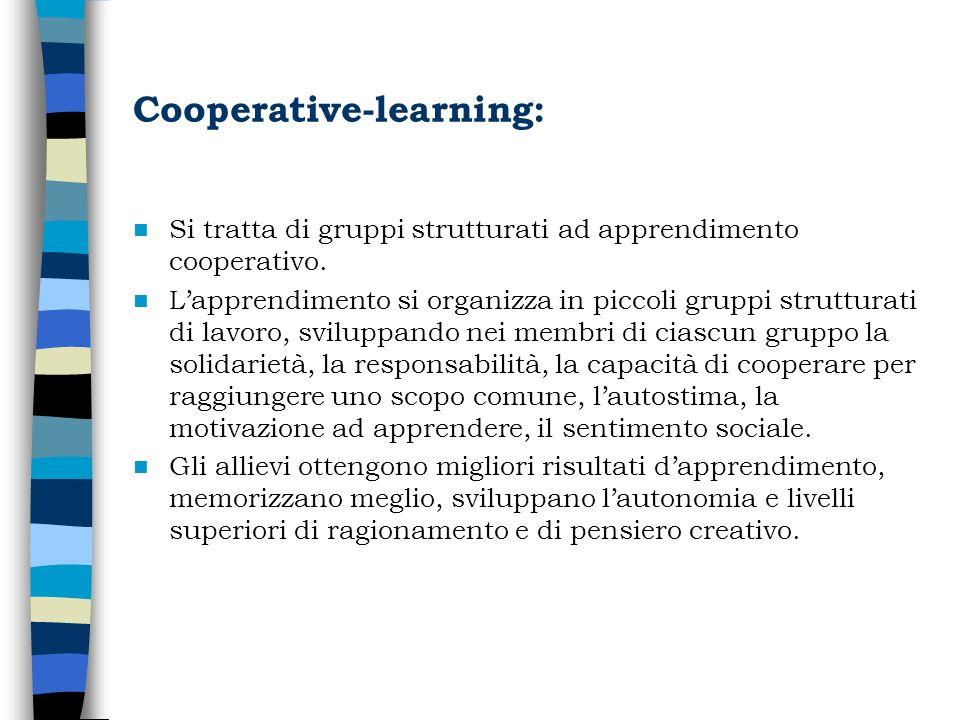 Cooperative-learning: Si tratta di gruppi strutturati ad apprendimento cooperativo. Lapprendimento si organizza in piccoli gruppi strutturati di lavor