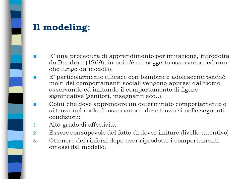 Il modeling: E una procedura di apprendimento per imitazione, introdotta da Bandura (1969), in cui cè un soggetto osservatore ed uno che funge da mode