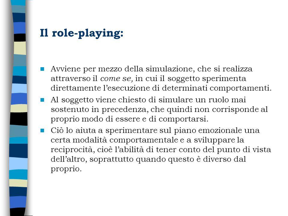 Il role-playing: Avviene per mezzo della simulazione, che si realizza attraverso il come se, in cui il soggetto sperimenta direttamente lesecuzione di