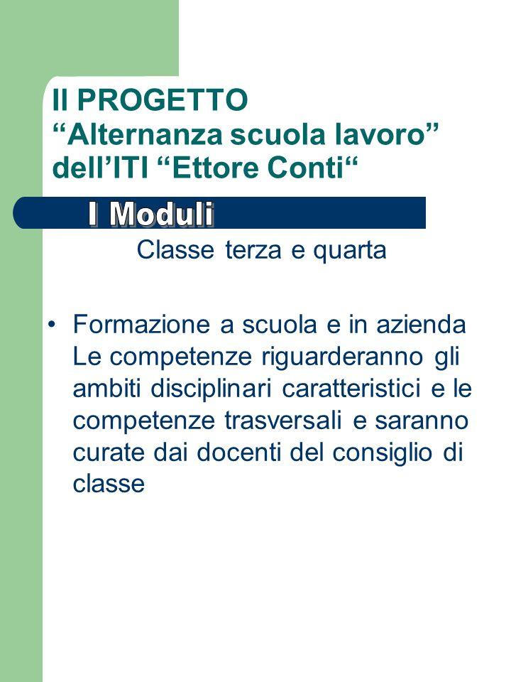 Il PROGETTO Alternanza scuola lavoro dellITI Ettore Conti Classe terza e quarta Formazione a scuola e in azienda Le competenze riguarderanno gli ambit
