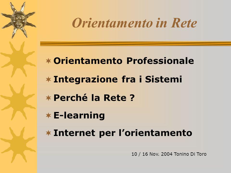 Orientamento in Rete Orientamento Professionale Integrazione fra i Sistemi Perché la Rete .
