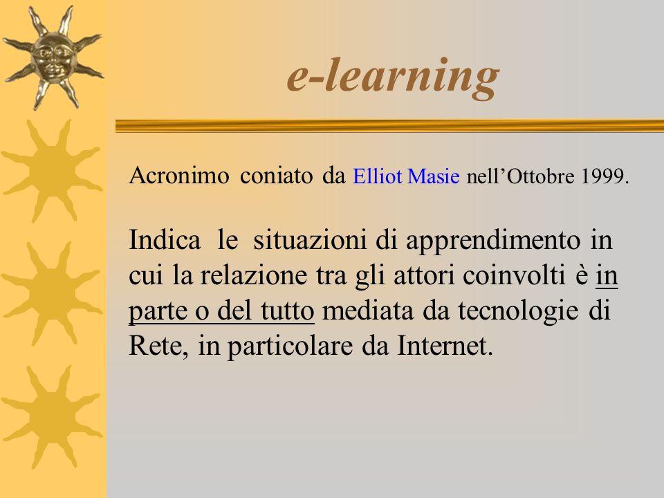 e-learning Acronimo coniato da Elliot Masie nellOttobre 1999. Indica le situazioni di apprendimento in cui la relazione tra gli attori coinvolti è in