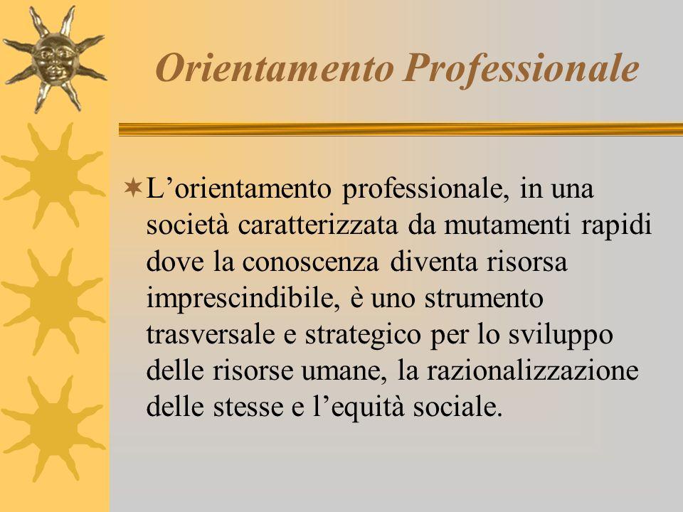 Orientamento Professionale Lorientamento professionale, in una società caratterizzata da mutamenti rapidi dove la conoscenza diventa risorsa imprescindibile, è uno strumento trasversale e strategico per lo sviluppo delle risorse umane, la razionalizzazione delle stesse e lequità sociale.