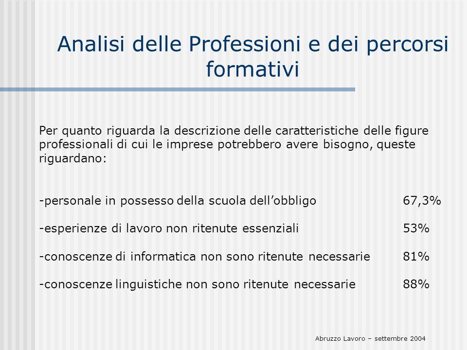 Analisi delle Professioni e dei percorsi formativi Per quanto riguarda la descrizione delle caratteristiche delle figure professionali di cui le impre