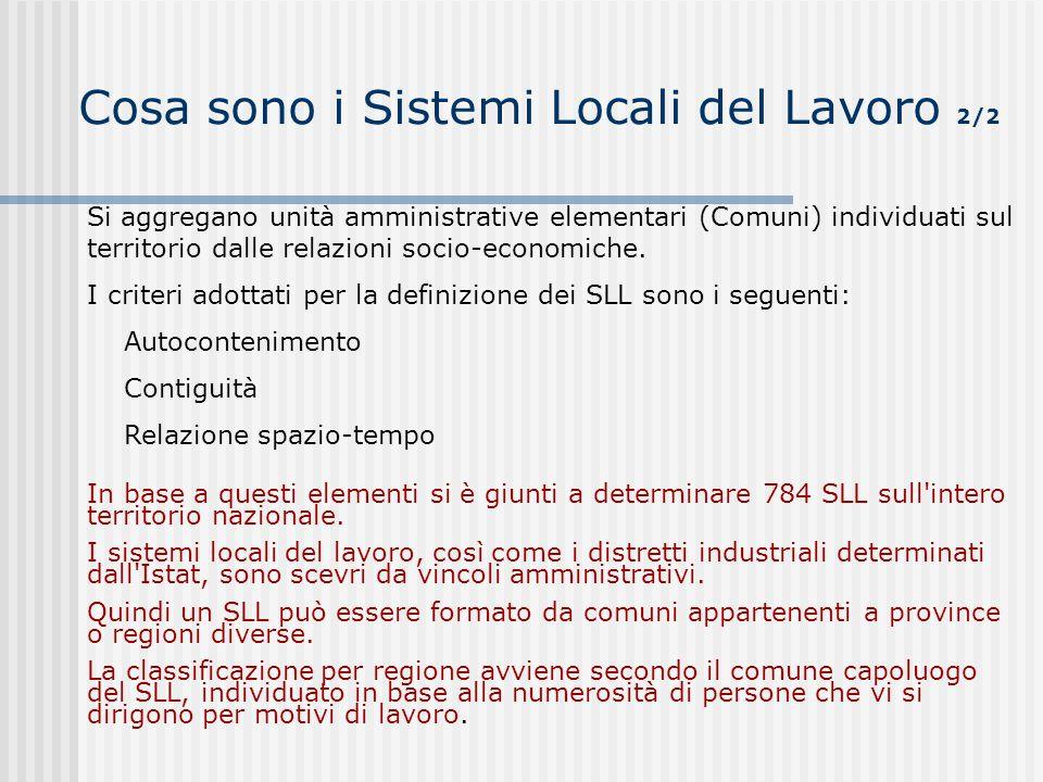 Cosa sono i Sistemi Locali del Lavoro 2/2 Si aggregano unità amministrative elementari (Comuni) individuati sul territorio dalle relazioni socio-econo