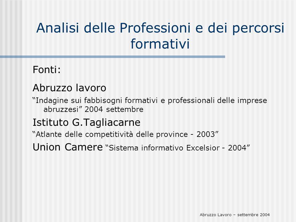 Analisi delle Professioni e dei percorsi formativi Fonti: Abruzzo lavoro Indagine sui fabbisogni formativi e professionali delle imprese abruzzesi 200