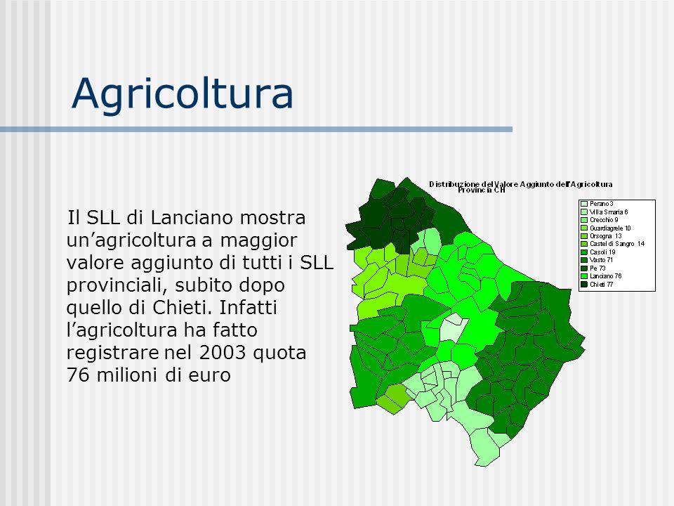 Agricoltura Il SLL di Lanciano mostra unagricoltura a maggior valore aggiunto di tutti i SLL provinciali, subito dopo quello di Chieti. Infatti lagric