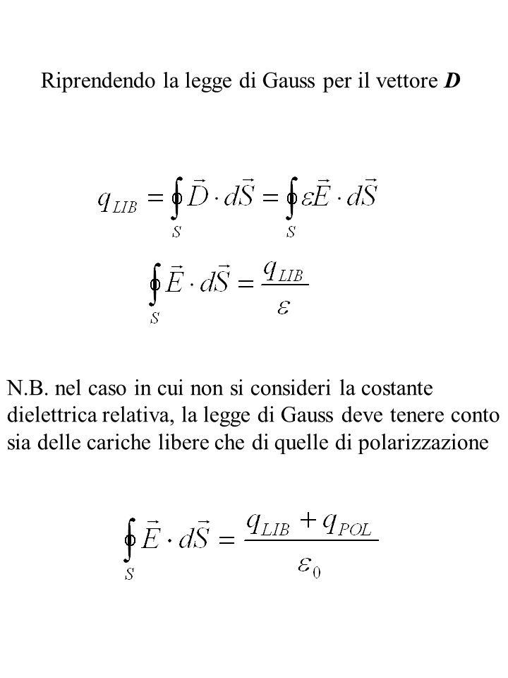 Riprendendo la legge di Gauss per il vettore D N.B. nel caso in cui non si consideri la costante dielettrica relativa, la legge di Gauss deve tenere c