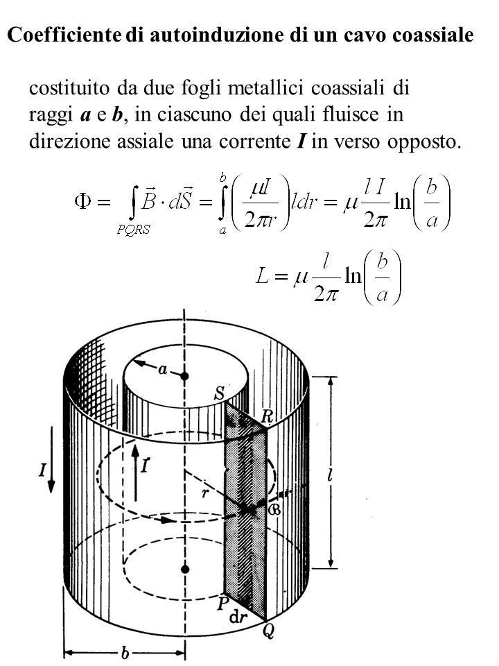Coefficiente di autoinduzione di un cavo coassiale costituito da due fogli metallici coassiali di raggi a e b, in ciascuno dei quali fluisce in direzi