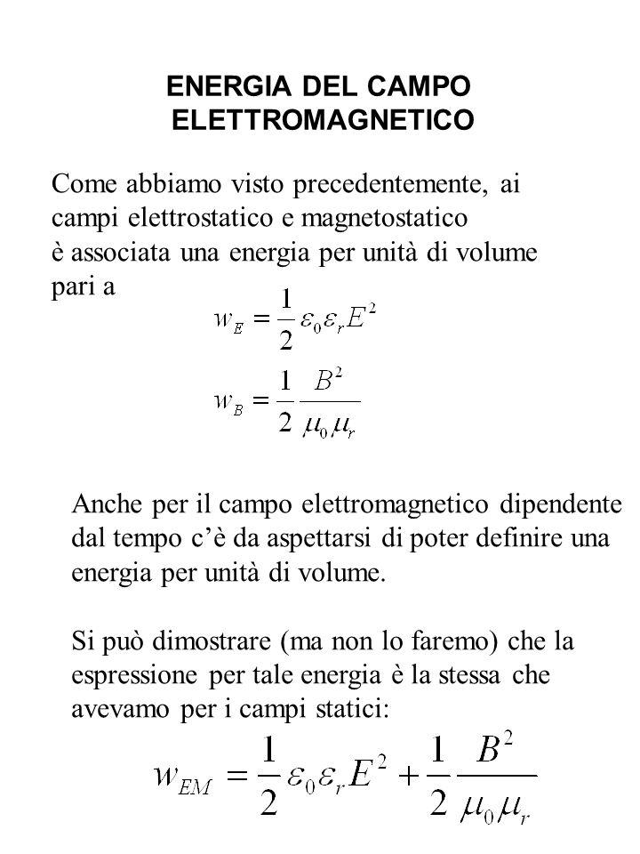 ENERGIA DEL CAMPO ELETTROMAGNETICO Come abbiamo visto precedentemente, ai campi elettrostatico e magnetostatico è associata una energia per unità di v
