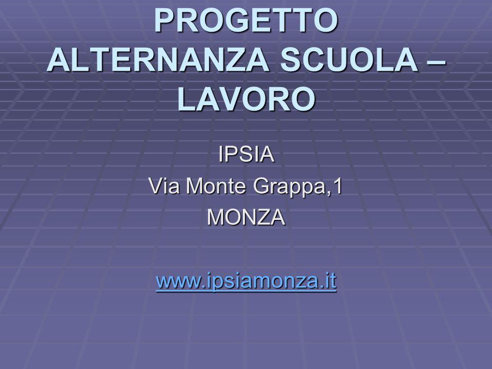 PROGETTO ALTERNANZA SCUOLA – LAVORO IPSIA Via Monte Grappa,1 MONZA www.ipsiamonza.it