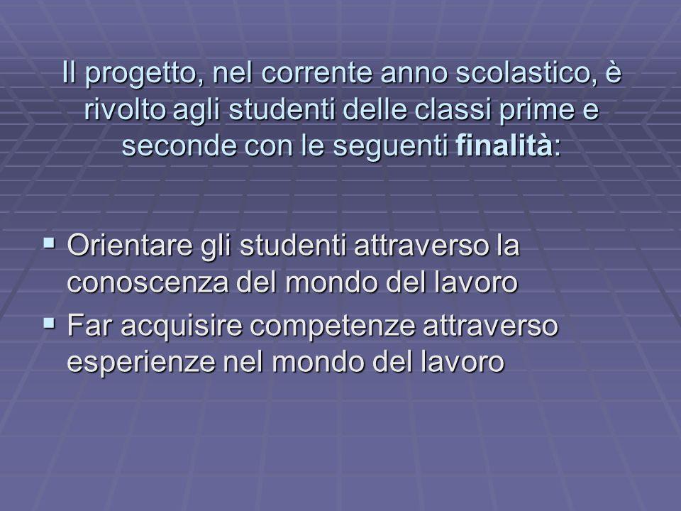 Il progetto, nel corrente anno scolastico, è rivolto agli studenti delle classi prime e seconde con le seguenti finalità: Orientare gli studenti attra
