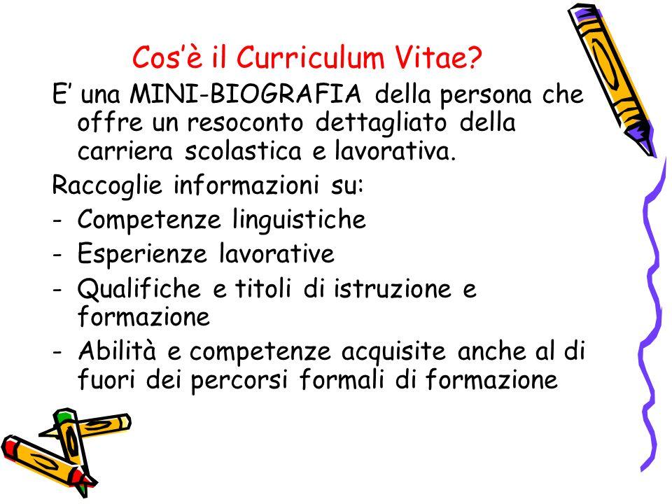Cosè il Curriculum Vitae? E una MINI-BIOGRAFIA della persona che offre un resoconto dettagliato della carriera scolastica e lavorativa. Raccoglie info