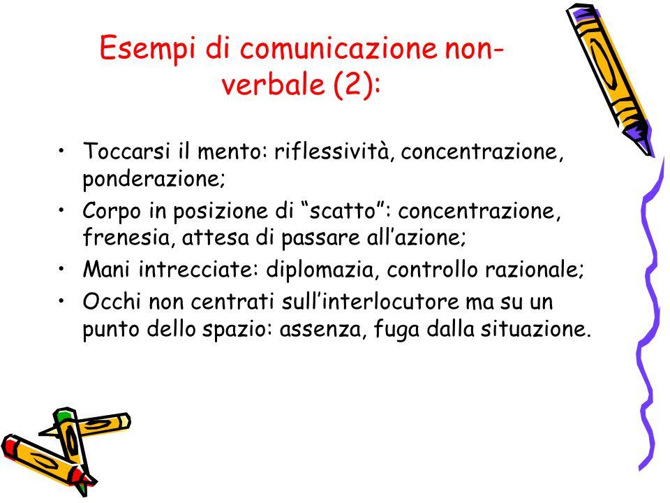 Esempi di comunicazione non- verbale (2): Toccarsi il mento: riflessività, concentrazione, ponderazione; Corpo in posizione di scatto: concentrazione,