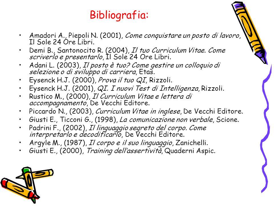 Bibliografia: Amadori A., Piepoli N. (2001), Come conquistare un posto di lavoro, Il Sole 24 Ore Libri. Demi B., Santonocito R. (2004), Il tuo Curricu