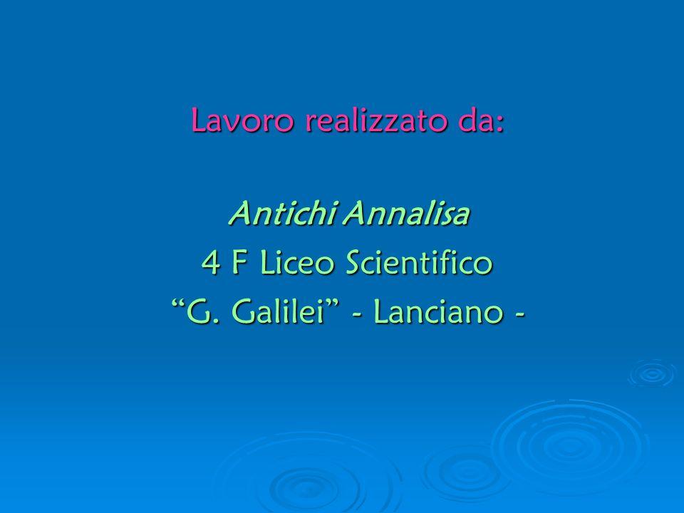 Lavoro realizzato da: Antichi Annalisa 4 F Liceo Scientifico G. Galilei - Lanciano -