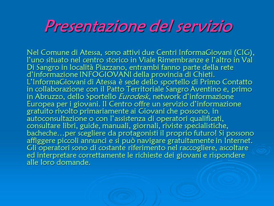 Presentazione del servizio Nel Comune di Atessa, sono attivi due Centri InformaGiovani (CIG), luno situato nel centro storico in Viale Rimembranze e l