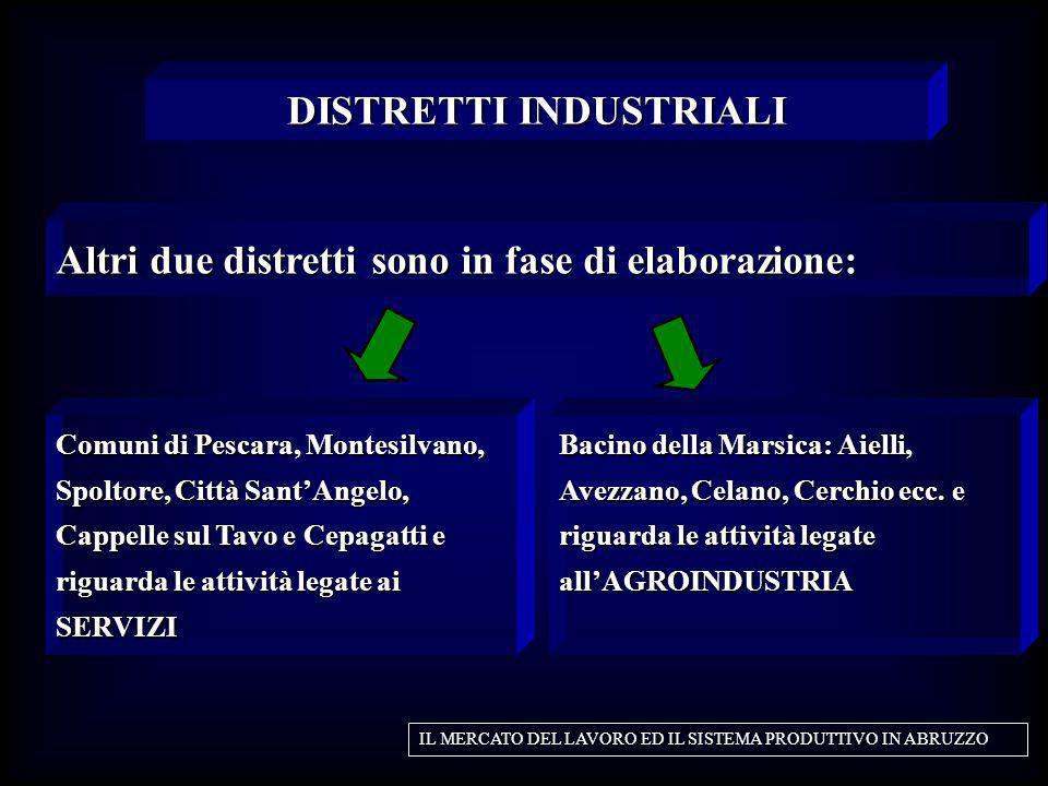 Altri due distretti sono in fase di elaborazione: DISTRETTI INDUSTRIALI IL MERCATO DEL LAVORO ED IL SISTEMA PRODUTTIVO IN ABRUZZO Comuni di Pescara, M
