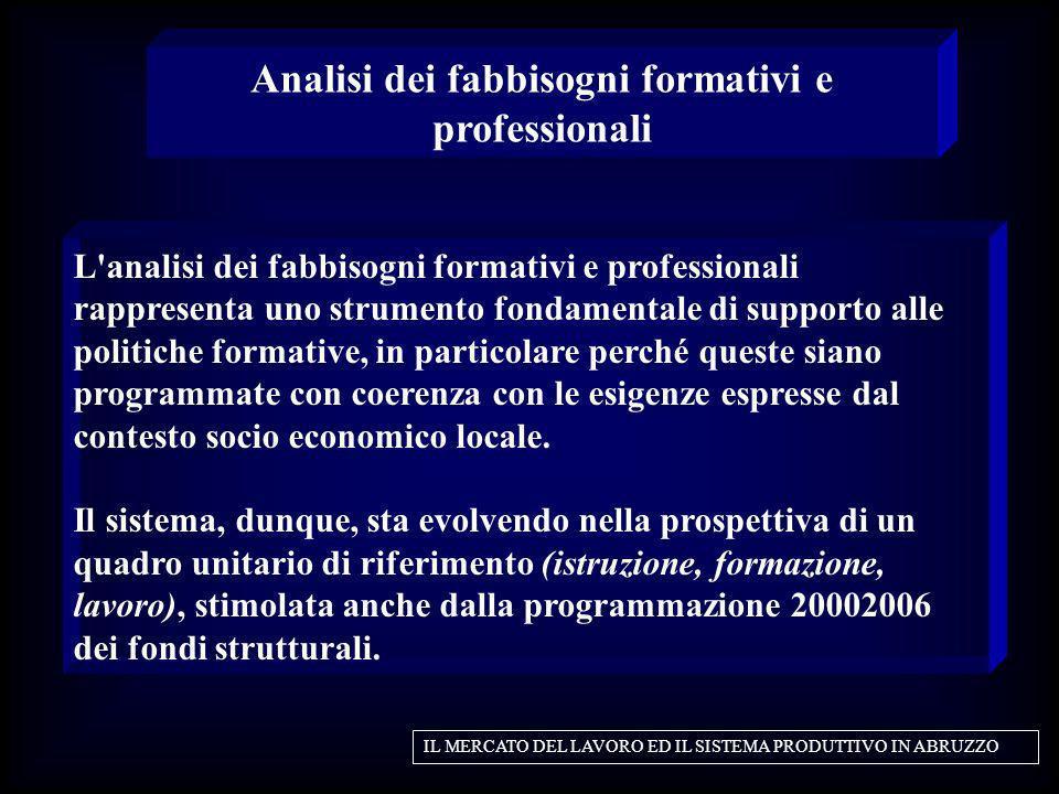 L'analisi dei fabbisogni formativi e professionali rappresenta uno strumento fondamentale di supporto alle politiche formative, in particolare perché