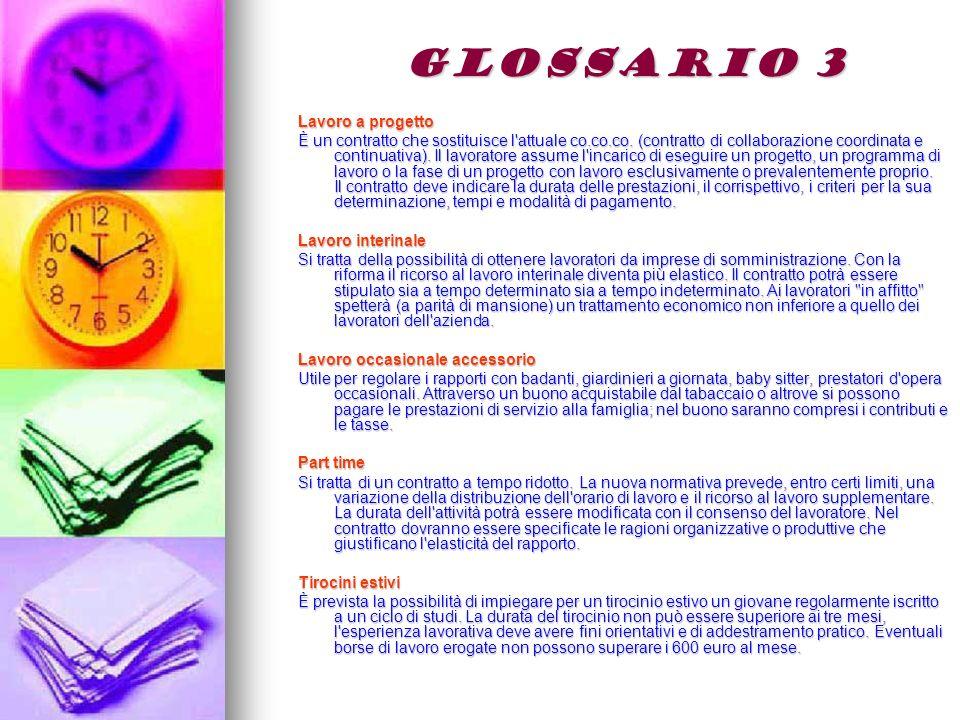 GLOSSARIO 3 Lavoro a progetto È un contratto che sostituisce l attuale co.co.co.
