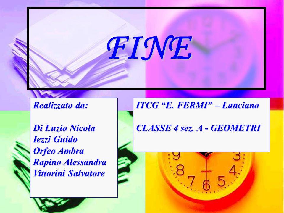 FINE Realizzato da: Di Luzio Nicola Iezzi Guido Orfeo Ambra Rapino Alessandra Vittorini Salvatore ITCG E.
