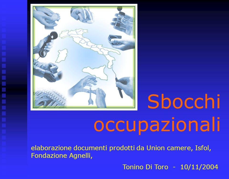 Sbocchi occupazionali elaborazione documenti prodotti da Union camere, Isfol, Fondazione Agnelli, Tonino Di Toro - 10/11/2004