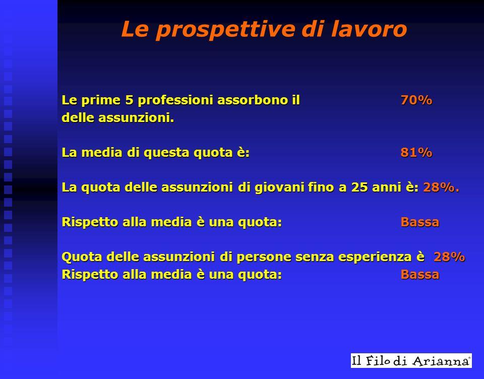 Le prospettive di lavoro Le prime 5 professioni assorbono il 70% delle assunzioni.