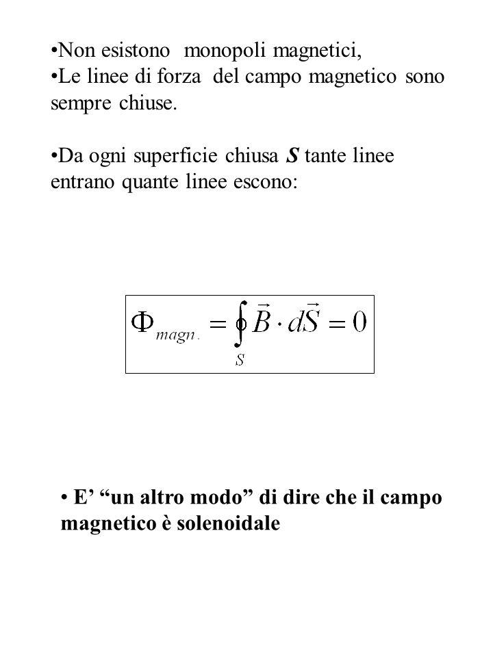 Non esistono monopoli magnetici, Le linee di forza del campo magnetico sono sempre chiuse. Da ogni superficie chiusa S tante linee entrano quante line