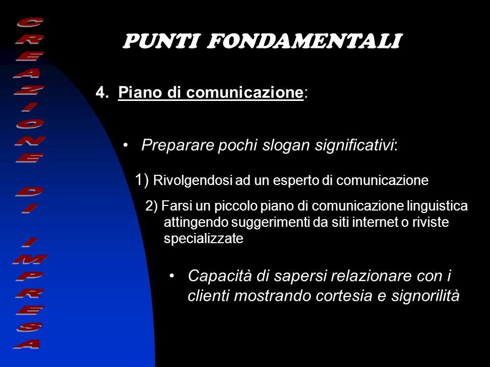 PUNTI FONDAMENTALI 4. Piano di comunicazione: Preparare pochi slogan significativi: 1) Rivolgendosi ad un esperto di comunicazione 2) Farsi un piccolo