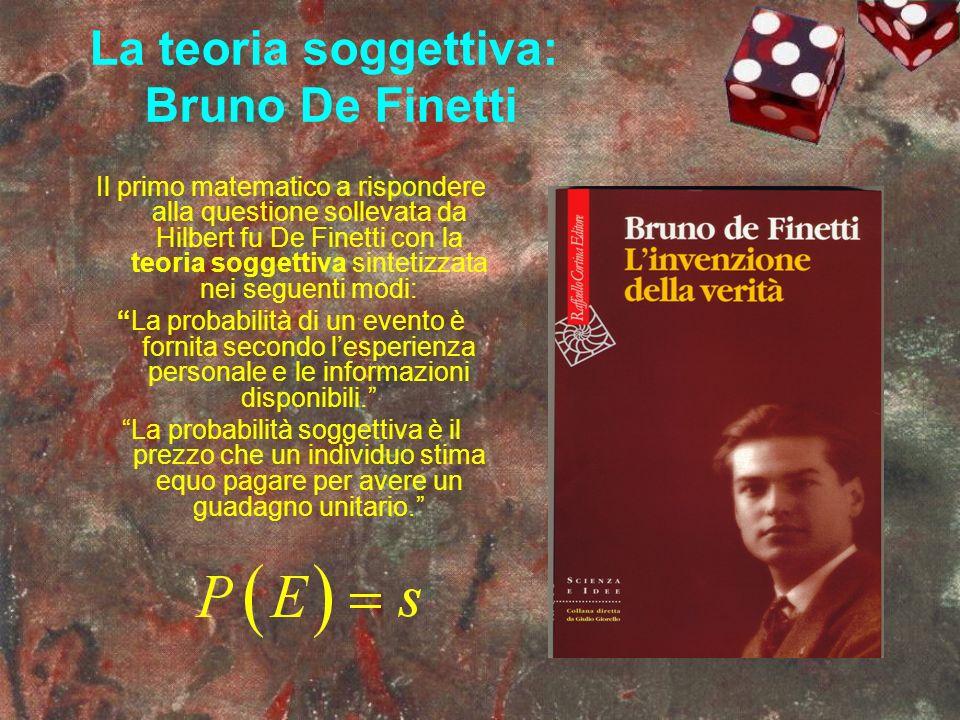 La teoria soggettiva: Bruno De Finetti Il primo matematico a rispondere alla questione sollevata da Hilbert fu De Finetti con la teoria soggettiva sin