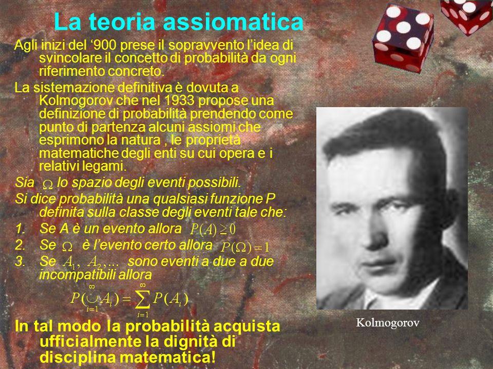 La teoria assiomatica Agli inizi del 900 prese il sopravvento lidea di svincolare il concetto di probabilità da ogni riferimento concreto. La sistemaz