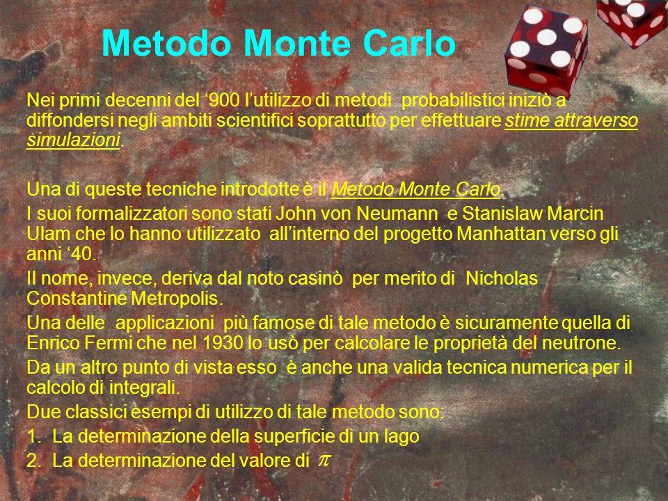 Metodo Monte Carlo Nei primi decenni del 900 lutilizzo di metodi probabilistici iniziò a diffondersi negli ambiti scientifici soprattutto per effettua