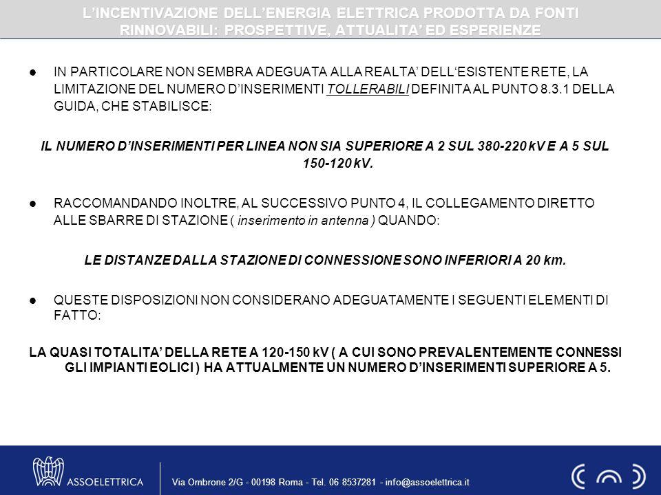Via Ombrone 2/G - 00198 Roma - Tel. 06 8537281 - info@assoelettrica.it IN PARTICOLARE NON SEMBRA ADEGUATA ALLA REALTA DELLESISTENTE RETE, LA LIMITAZIO